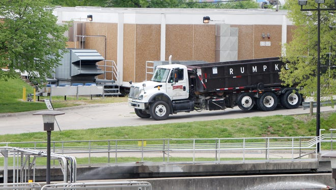 A Rumpke truck arrives at the Little Miami Wastewater treatment plant to pick up solid waste.