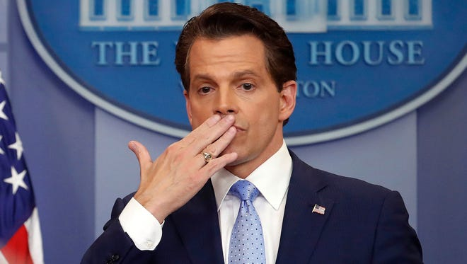 Anthony Scaramucci, as incoming White House communications director, blows a kiss to the press on July 21, 2017.