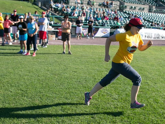 Lindsay Tersmette of Rochester runs to third base during a demonstration of Beep Baseball.