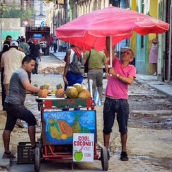 A street vendor waits for customers in Havana on Thursday.