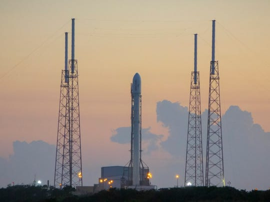 A SpaceX Falcon 9 rocket carrying 11 Orbcomm communications satellites on its pad at Cape Canaveral Air Force Station's Launch Complex 40.