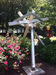 "This piece of sculpture was in downtown Knoxville's Krutch Park as part of a previous ""Art in Public Places"" exhibition by Dogwood Arts."