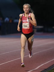 North Rockland's Katelyn Tuohy runs the girls 3,200 during the Loucks Games on May 9, 2018, setting a national girls high school outdoor record in the event with a 9:47.88 finish.