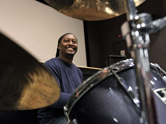 """Drummer from the band Drive North, Keith Hawkins, smiles as they play for a rehearsal of a Community Theater production of """"Soul Time"""" at Raritan Bay Area YMCA. """"Soul Time"""" will be performed Friday and Saturday, May 8-9, at 7 p.m. at the YMCA Theater, 357 New Brunswick Ave., Perth Amboy.  $10 tickets are available at the door on a first-come basis; to reserve seats, contact: (732) 376-1566, or suzan31@aol.com."""