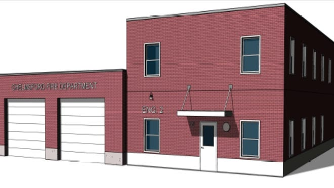 A conceptual illustration shows a plan for the new North Fire Station building. Town Meeting representatives backed $3.4 million for the plan.