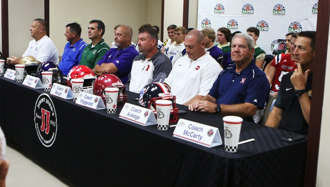 Coaches from schools across northeastern Louisiana attend the Bayou Jamb Media Day press conference in the St. Francis Auditorium at St. Francis Medical Center in Monroe, Tuesday, Aug. 22, 2017. Bayou Jamb is the largest pre-season high school football event in Louisiana. It takes place Saturday, Aug. 26, at ULM's Malone Stadium.