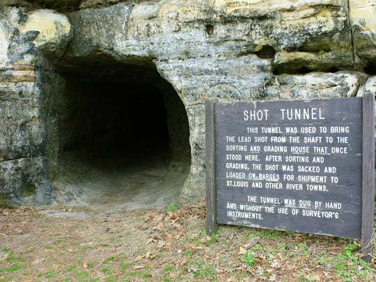 Miners used hand tools to dig this 90-foot tunnel into the sandstone to collect shot that had fallen more than 180 feet from the shot house at Tower Hill State Park in Spring Green.