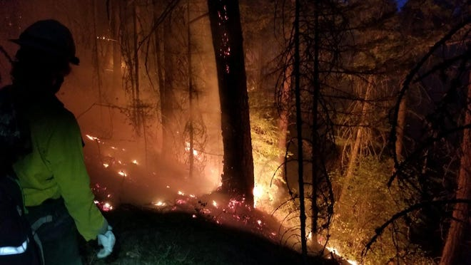 The Mosier Creek Fire seen from overnight.