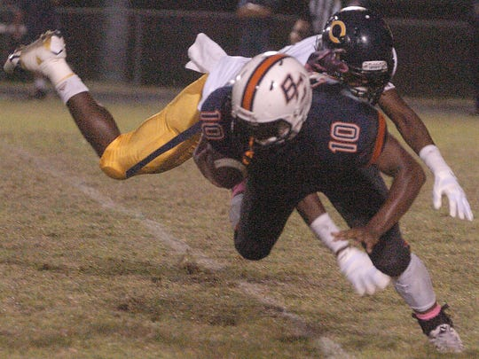 Action between Beau Chene  High School and Carencro High School Thursday night.