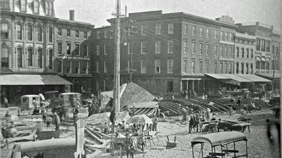 Looking toward the northeast corner of York's square on June 30, 1887.