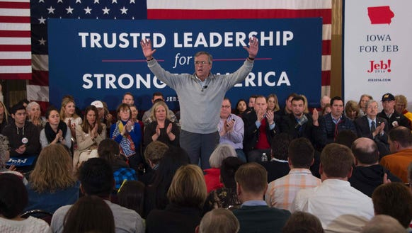 Jeb Bush speaks at a campaign event in Des Moines on