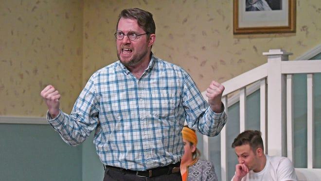 Jeffery Kilgore rehearses a scene as the character Vanya on Monday at the Mansfield Playhouse.