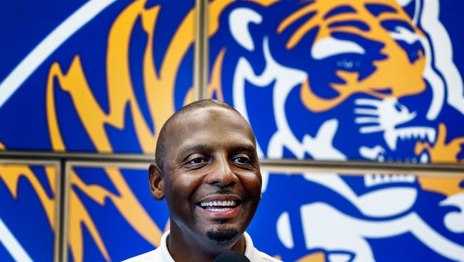 University of Memphis head coach Penny Hardaway holds a press conference at the Laurie-Walton Family Basketball Center on July 10, 2018, before heading out on a recruiting trip to Peach Jam.