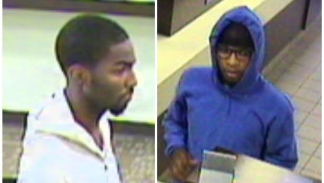 Surveillance photo of Lake Trust credit union robbery suspect.