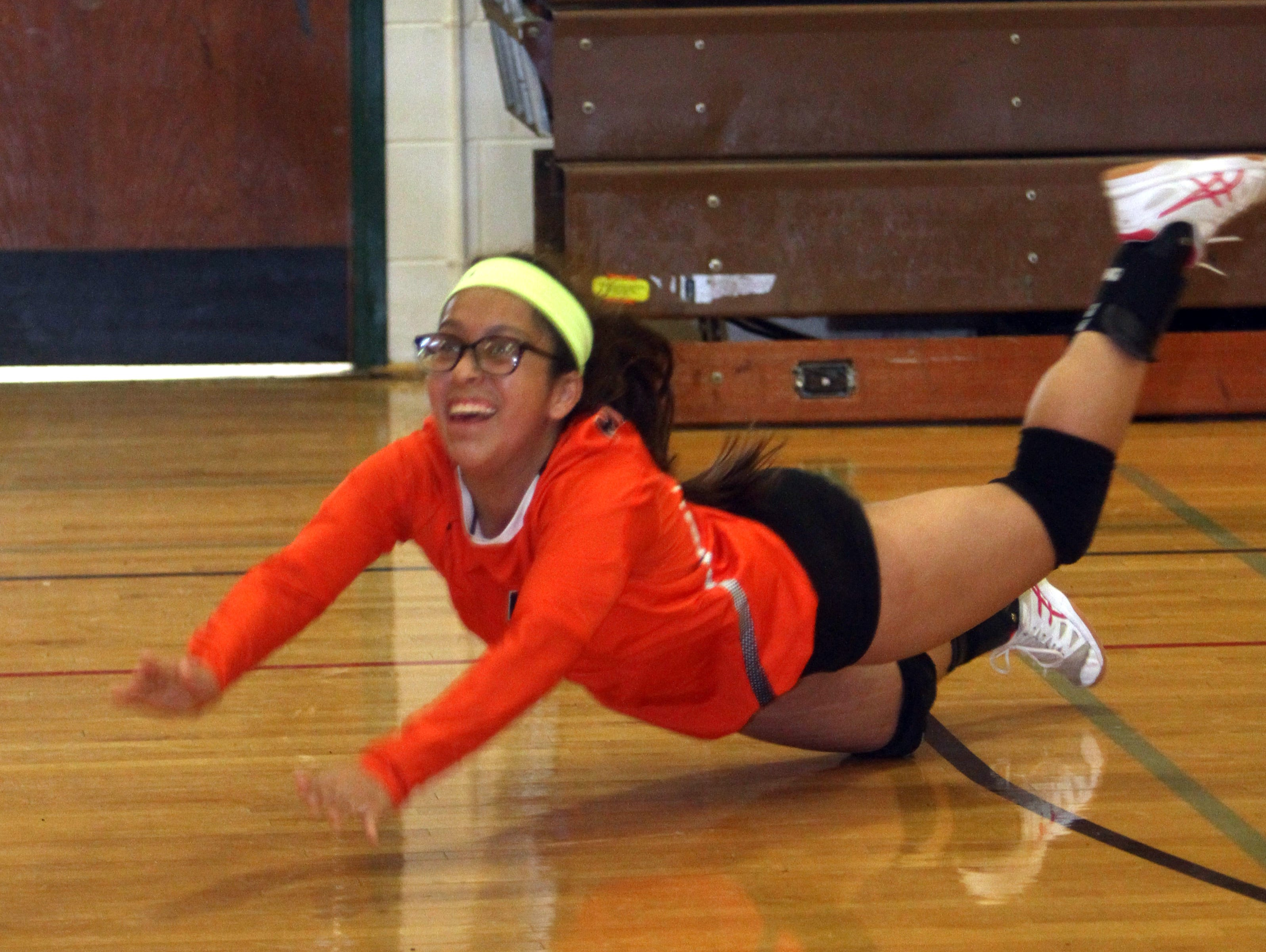 Mamaroneck's Leslie Morales dives for a shot the ball during a multi-team scrimmage at Clarkstown South High School Sept. 3, 2016.