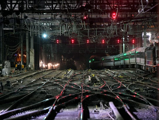 """A view of the area known as """"A interlocking,"""" as an NJTransit train leaves Penn Station last June. on Monday, June 26, 2017. Construction will begin on this part of the tracks in June, creating delays for NJTransit and Amtrak commuters for the summer."""