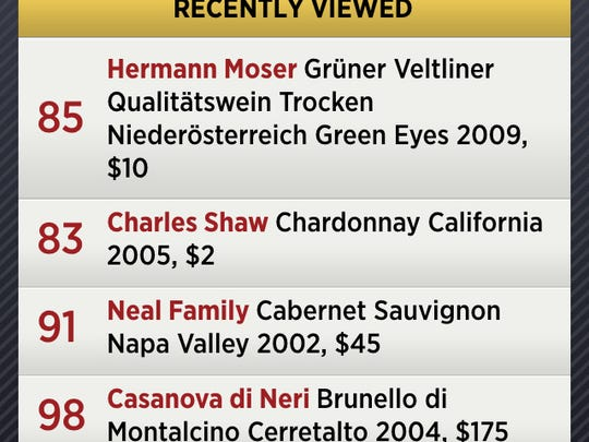 Screen grab of the Wine Spectator iPhone app