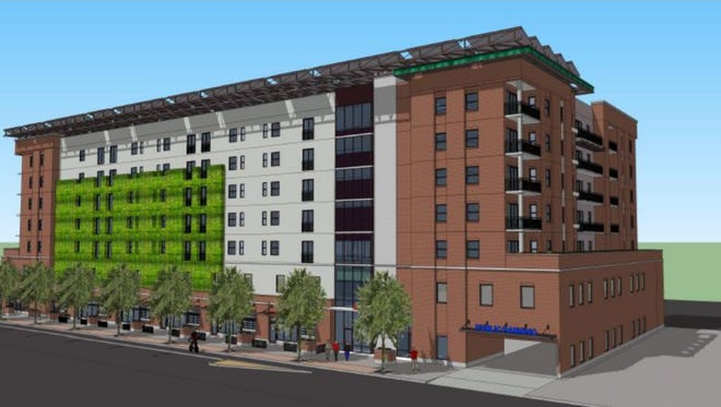 Pictured is a rendering of an apartment complex proposed to go in downtown Mesa on Pepper Place and Robson Road.
