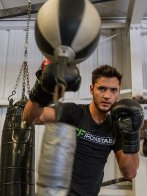 Local boxer Bryant Perrella, 14-0 with 13 KOs, trains at Syndicate Boxing Club in South Fort Myers Thursday afternoon (8/4/16). Perrella will fight 2008 Olympian Yordenis Ugas Friday, August 12. Fight will be televised as part of Premier Boxing Champions' ESPN Boxing series at 9 pm ET.