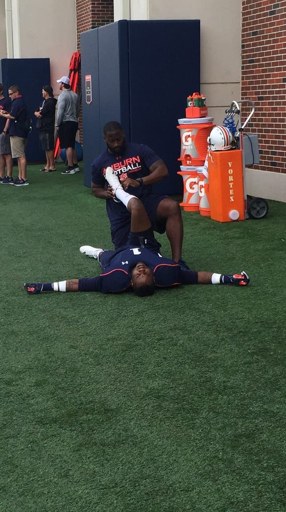 D'haquille Williams has been stretched before practice