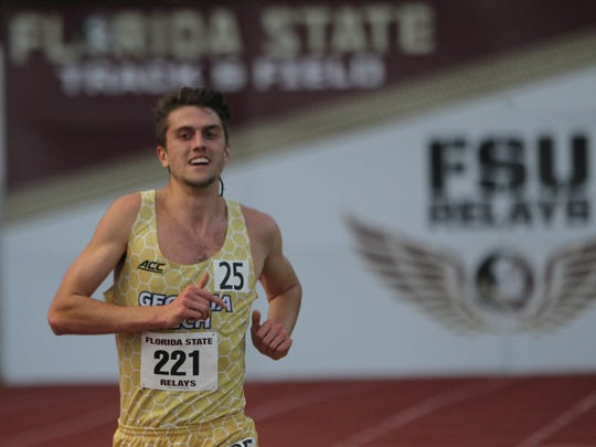 Georgia Tech's Avery Bartlett, a former state champion runner at Chiles High, runs during the 2017 FSU Relays.