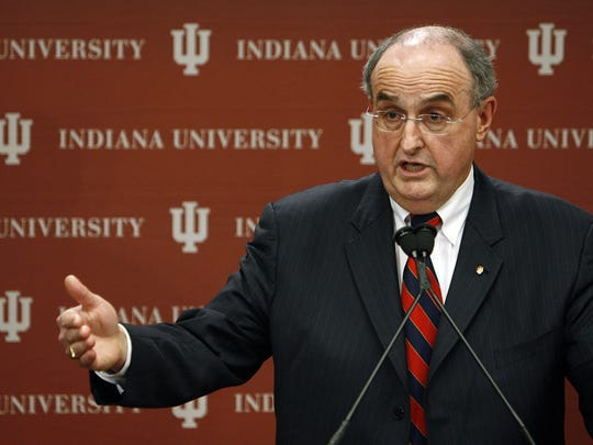 Indiana University President Michael McRobbie held a news conference, Feb. 15, 2008 concerning the NCAA allegations against IU basketball coach Kelvin Sampson.