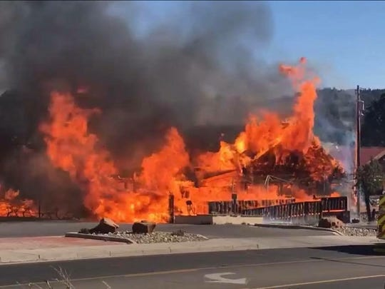 The main portion of the restaurant was fully engulfed with flames and although the exterior of the dining addition was intact, the inside also was gutted.