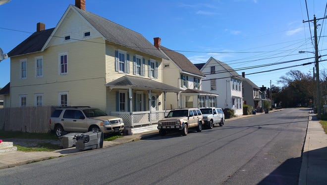 A row of homes on Kimmy Street in Georgetown, Delaware.