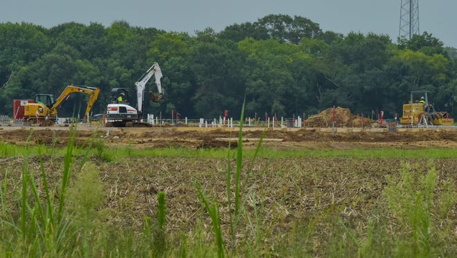 Construction is underway on Southside High School in Youngsville. July 28, 2016.