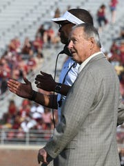 FSU legend Bobby Bowden and FSU head coach Willie Taggart talking before the Spring game on Saturday evening.