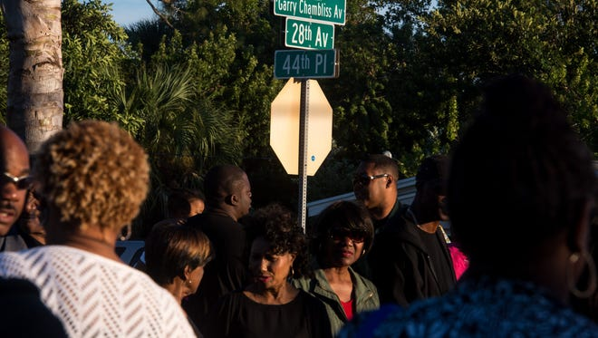 Members of the Gifford community and the Indian River County Sheriff's Office honor slain deputy Garry Chambliss on Wednesday, Oct. 25, 2017, by renaming 28th Avenue to Deputy Sheriff Garry Chambliss Avenue during a ceremony in Gifford.