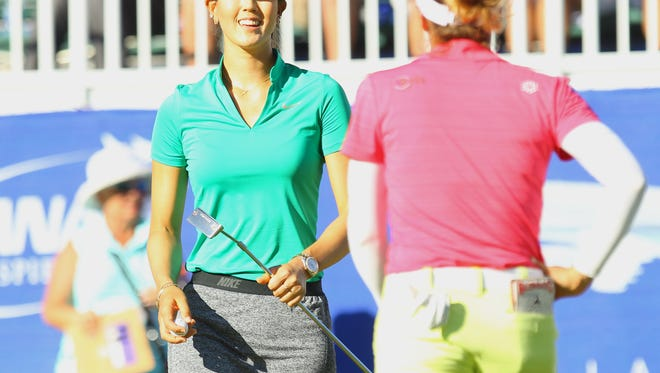 Michelle Wie with Gaby Lopez on 9 during the second round of the ANA Inspiration on Friday, April 1, 2016.