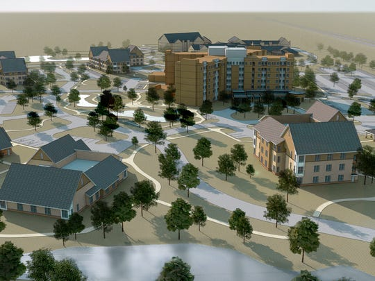 A rendering of the Jewish Home campus in Brighton with smaller, more homelike buildings for people needing nursing home care.