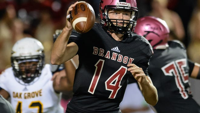 Quarterback Brady Anderson and the Brandon Bulldogs can clinch the top seed in Region 3-6A with a win over Pearl on Friday in the Rankin County Super Bowl.