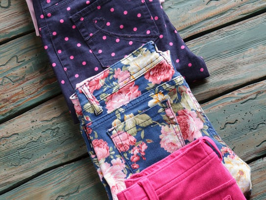 Printed pants are colorful and fun.