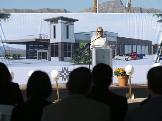 Allie Lozano, CEO of the Hospitals of Providence's two microhospitals — one in Horizon City and one being built in Northeast El Paso — speaks at Thursday's groundbreaking ceremony for the new microhospital being built at McCombs Street and the Patriot Freeway.