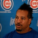 Manny Ramirez makes his debut during a press conference at Principal Park in Des Moines, Iowa Monday, June 30, 2014.