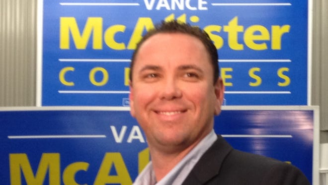 Vance McAllister arrives at his headquarters to celebrate with supporters after winning the 5th Congressional District election.