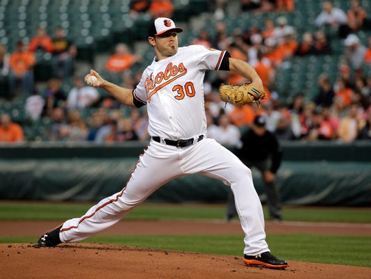 Baltimore Orioles starting pitcher Chris Tillman throws to the Toronto Blue Jays during the first inning of a baseball game in Baltimore, Thursday, April 21, 2016. (AP Photo/Patrick Semansky)