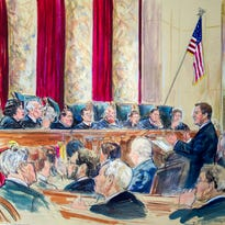 This artist rendering shows Tennessee Associate Solicitor General Joseph Whalen arguing before the U.S. Supreme Court hearing on same-sex marriage last Tuesday in Washington.