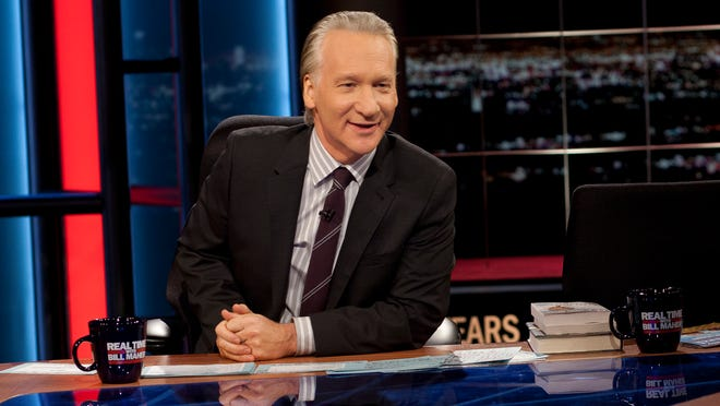"""ORG XMIT: NYET In this image released by HBO, host Bill Maher is shown during the broadcast of the HBO political series, """"Real Time With Bill Maher,"""" on Friday, Feb. 3, 2012 in Los Angeles. (AP Photo/HBO, Janet Van Ham)"""