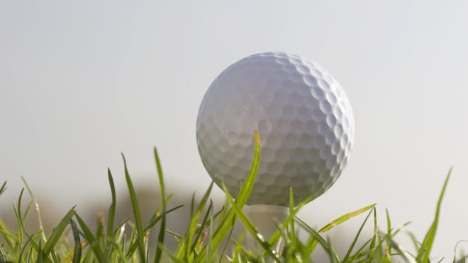 Golf ball on tee on grass. Excellent background for book covers or ads.