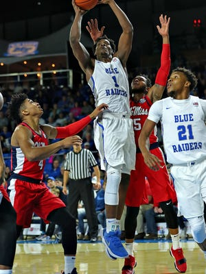 MTSU forward Brandon Walters looks to shoot in a game against Ole Miss at Murphy Center on Dec. 9, 2017.