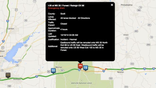 Truck fire closes I-20