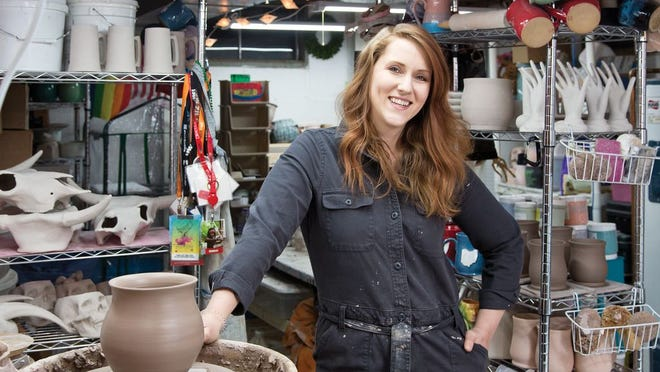 Halley Immelt, founder of Ice + Dust Pottery, in her home studio