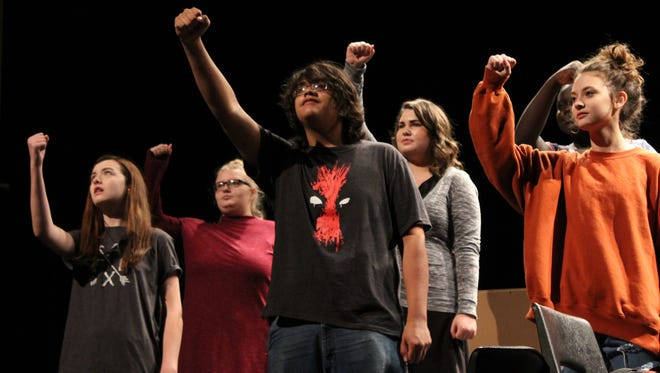 "It's a geek chorus instead of a Greek chorus in ""Governing Alice,"" a drama based on ""Antigone,"" that is on stage this weekend at Abilene High School."
