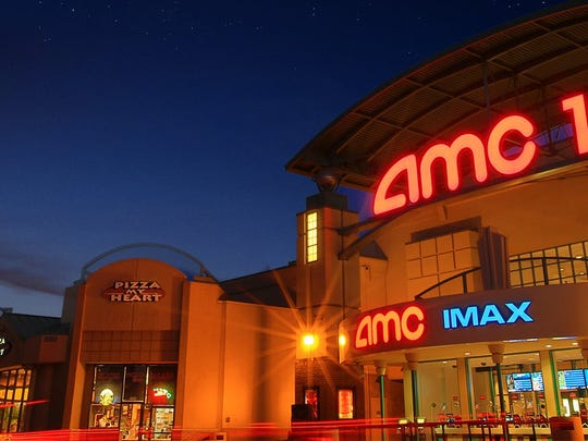 AMC 14 in Saratoga. An exterior shot of the theater at night.