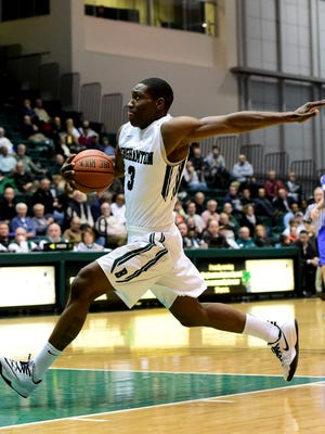 Binghamton University junior guard Jordan Reed goes up for a dunk attempt against Hartwick College in the Events Center on Nov. 19.