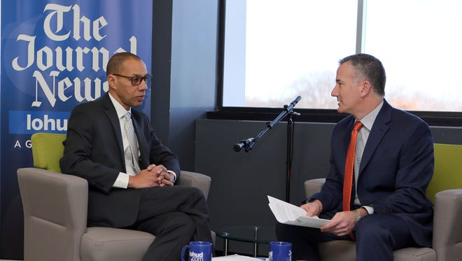 Dennis Walcott, left, head of the state's East Ramapo monitoring team, chats with Gary Stern, the engagement editor for The Journal News and lohud.com, Tuesday.