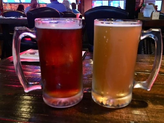On the right is the Grumpy Goat Lager from the Grumpy Goat Tavern in West Des Moines.